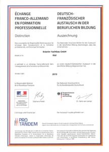 Zertifikat Deutsch-Französischer Austausch 2019